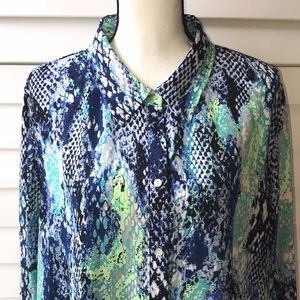INVESTMENTS II PLUS SIZE BLOUSE GORGEOUS HI LO HEM
